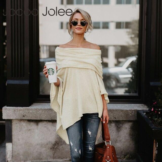 Jocoo Jolee אופנה גלימת הסוודר Loose סלאש צוואר מזדמן סרוג עטלף שרוול סוודר 2018 Chonpas Mujer גרנדה