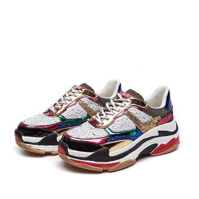 Femmes Dames Nouveau Plate Sneakers Marque attaché Glitter 2019 Argent Respirant forme Chaussures De Blings Marche Croix Dropshpping Paillettes I6Sxqpw61