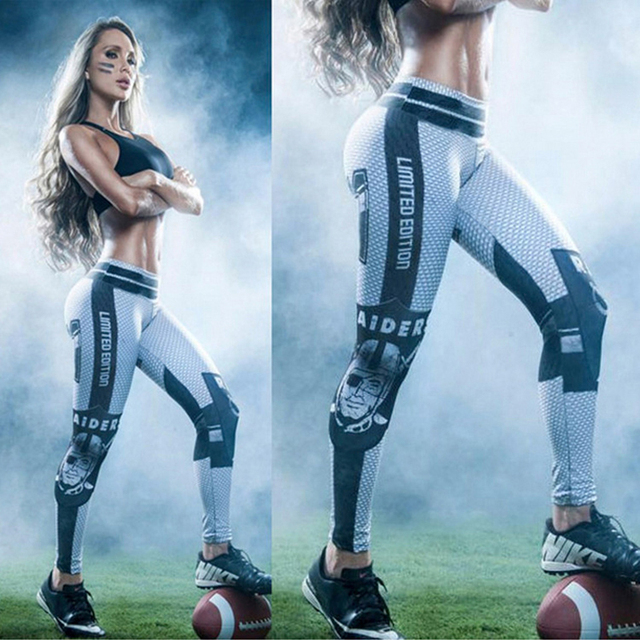 Women s Sports Yoga Pants Compression Running Tights Leggings Gym Athletic  Skinny Fitness Sportswear American football Trousers b967ce7484