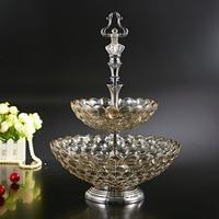 European Crystal Glass Fruit Plate Dry Pots Coffee Fruit Are Desktop Storage Room Decoration