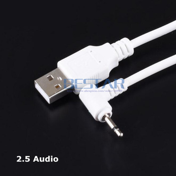 1m USB Jack Plug Aux 2.5mm Mono Audio cable 2.5USB USB 2.5 mm jack USB 2.0 to DC 2.5mm 90 Degree elbow 2A charging cable image