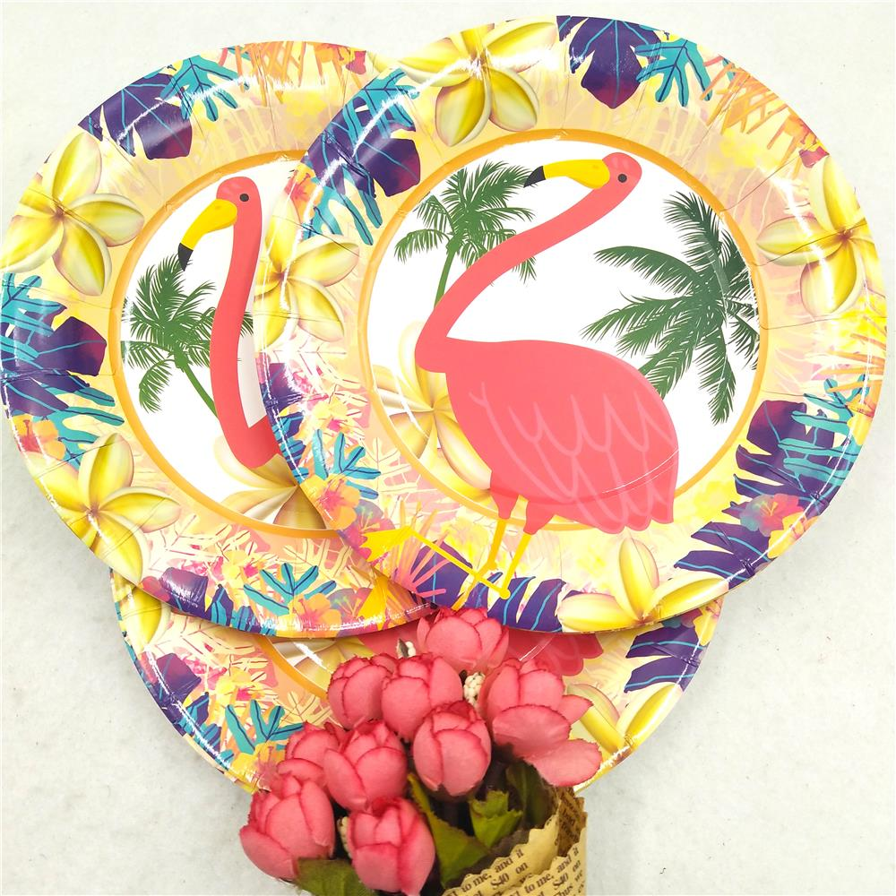Hawaiian Luau Party Tableware Kits Paper Cups Plate Staw Flamingo Banner Birthday Party Decoration Kids Flamingo Party Supplies in Disposable Party Tableware from Home Garden