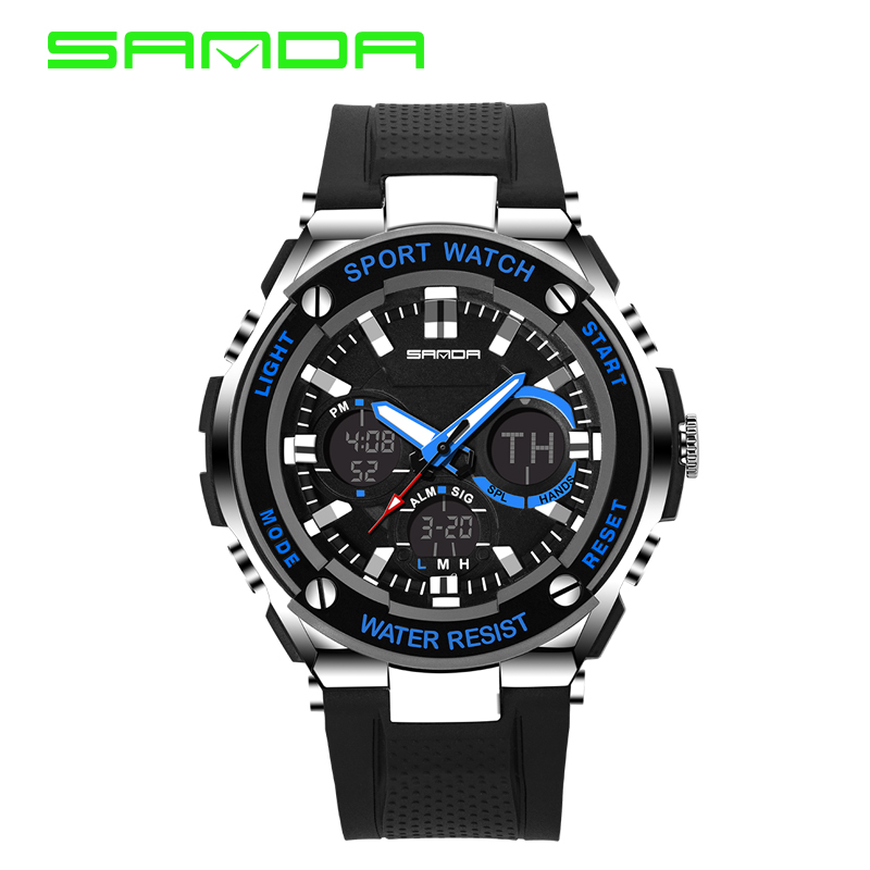 Man Watch 2018 SANDA Sport Watch Digital Shock Resistant Stopwatch Wristwatches Outdoor Military LED hodinky relogio masculino