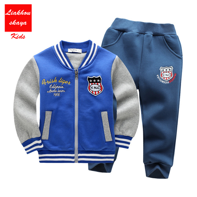 Children Baseball Sweatshirts Boys Clothing Sets Thick Warm Sport Suit Kids Winter Set Tops+Pants Suit Hot Sale Boys Clothes jumping meters boys winter clothes children clothing sets animal tops pants 100% cotton 3017 brand kids tracksuit boys outfits