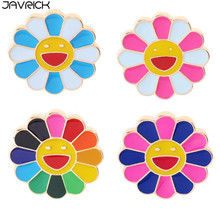 Colorful Smile Sunflower Brooch Enamel Rainbow Cartoon Emoji Collar Lapel Pin Badge Clothes Accessories Bag Decor Jewelry Gift