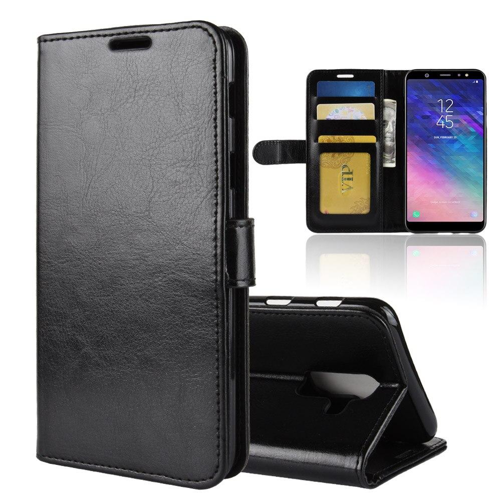 J8+ Case for Samsung Galaxy J8 Plus Cases Wallet Card Stent Book Style Flip Leather Protect Cover black J805 SM J805G J8Plus