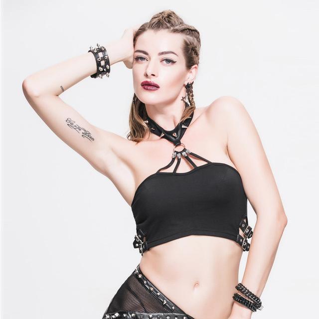 Devil Gothic Fashion Halter Crop Top Mujeres Steampunk Negro Corto Atractivo de Las Señoras Blusas Sin Espalda Ajustable Correa Del Remache de la Hebilla Cuello