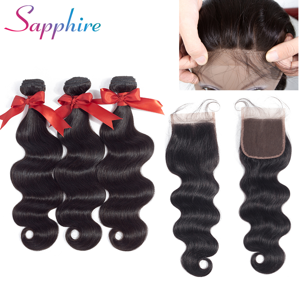 Sapphire Brazilian Hair Weave Body Wave Bundles with Closure Non Remy Human Hair Bundles 3 Bundles