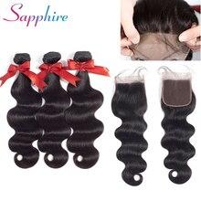 Sapphire Brazilian Hair Weave Body Wave Bundles wit