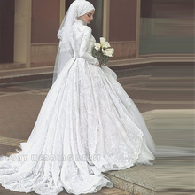 Vintage White Lace Muslim Hijab Wedding Dress Tulle High Neck Ball Gown Wedding Dress Long Sleeve Bridal Gowns With Veil WM23
