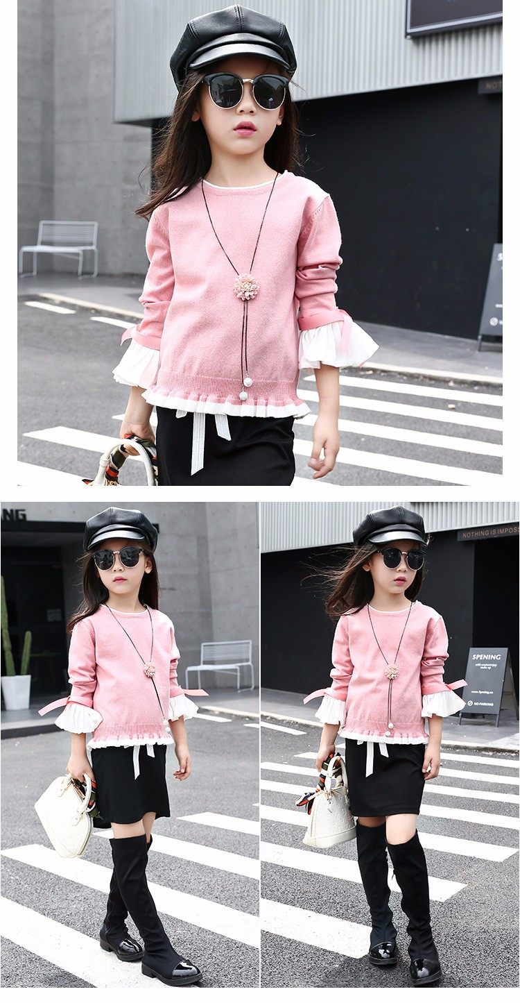 knitting little teenage girls clothes suits autumn 2016 children clothing set for girl pink blue knit sweater tops long sleeve black skirts clothes set 2016 6 7 8 9 10 11 12 13 14 15 16 years old big girl 2 pcs clothing sets (11)