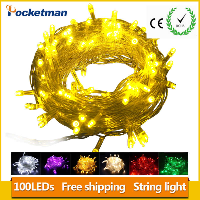 HOT High Power 1pieces 100 LED 10m led String Light for Holiday Party Wedding led christmas lighting Free shipping z65