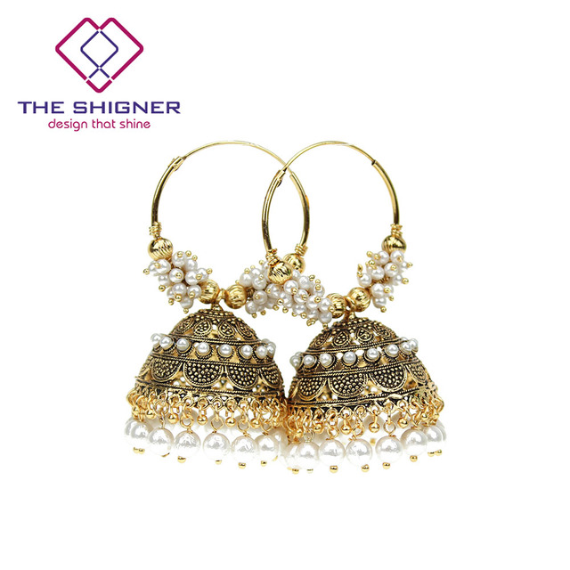The Shigner Traditional Indian Gold Color Pearl Beads Bali Hoop Jhumki Jhumka Earrings Bollywood Style Ring