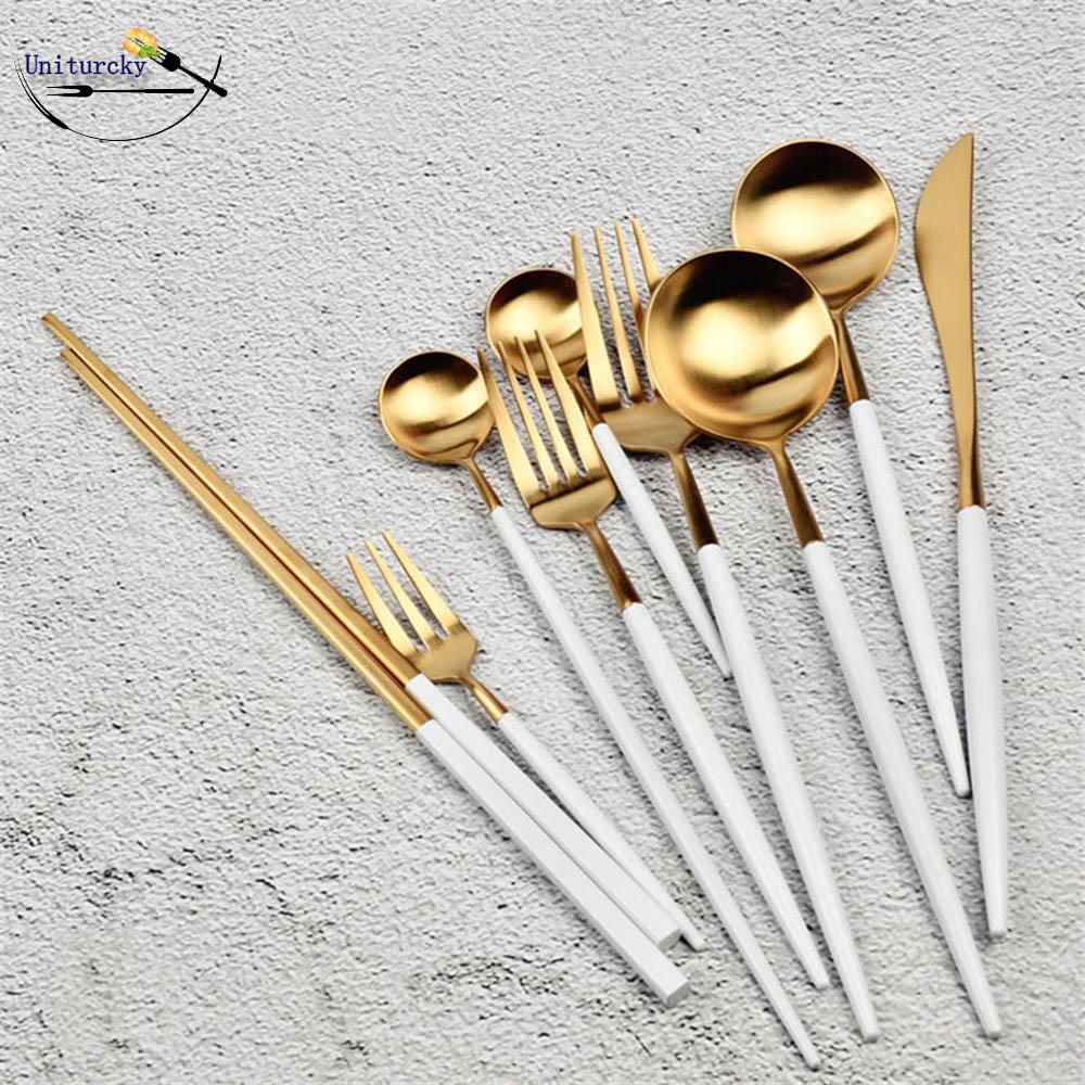 Korean Royal 1-Piece Kitchen Accessories Stainless Steel Dinnerware Set White Gold Knife Fork Tableware Cutlery Set Silverware