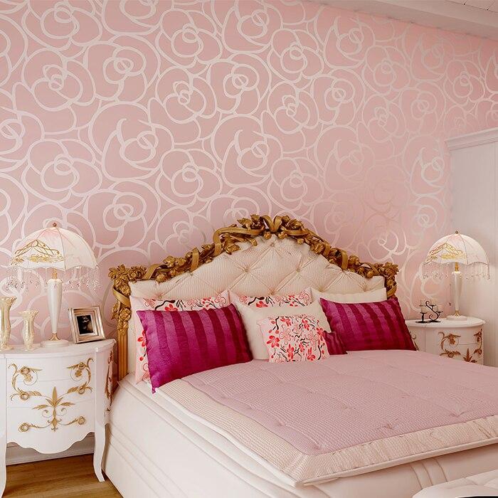 3d Flocking Emboss Gold Yellow Rose Wallpaper Rolls Sofa Tv