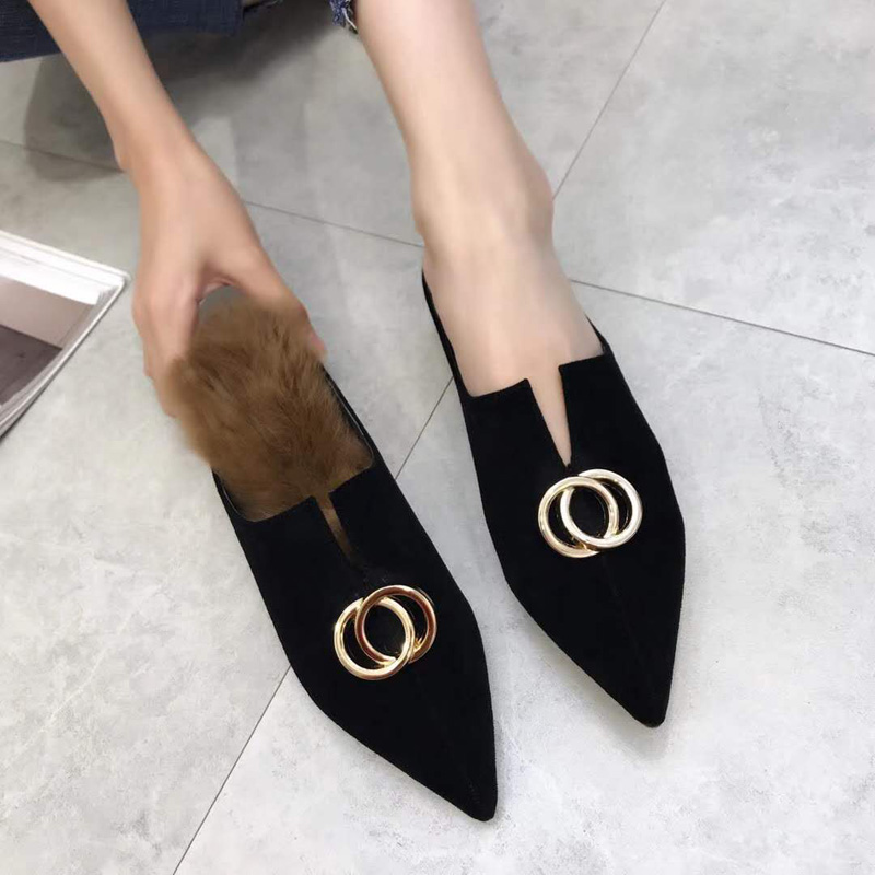73dafe90b Autumn Shoes Women Fur Slippers Pointed Toe Mules Ladies Sliders Shoes  Luxury Buckle Fenty Beauty Furry Mules Home Slippers-in Slippers from Shoes  on ...