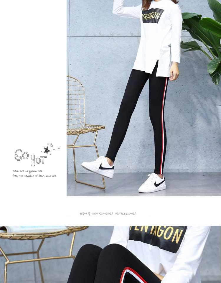 High Quality Cotton Leggings Side stripes Women Casual Legging Pant Plus Size 5XL High Waist Fitness Leggings Plump Female 24