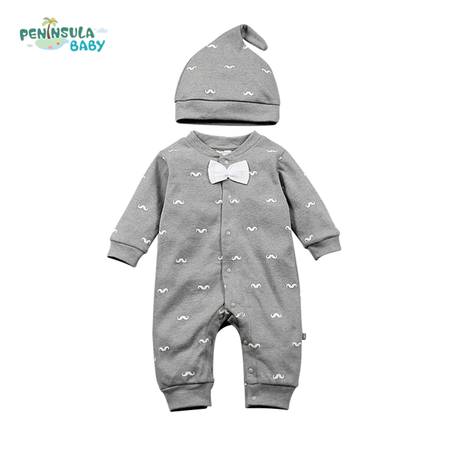 2017 New Baby Boys Rompers Gentleman Long Sleeve Jumpsuits Hat Bow Tie Spring Infant Clothing Cartoon Newborn Infant Costume cotton baby rompers set newborn clothes baby clothing boys girls cartoon jumpsuits long sleeve overalls coveralls autumn winter