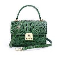 Высококачественные 2018 новые Для женщин Aligator Crossbody Сумки из кожи благородный клапаном плеча сумочку леди зеленый крокодил сумки