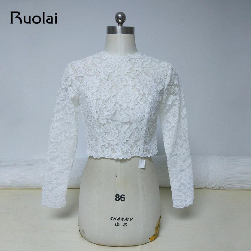 2018 High Neck Ivory Long Sleeves Wedding Jacket Lace Bolero Jacket Bridal Coat Button Back Wedding Accessories Women Cloth FJ24