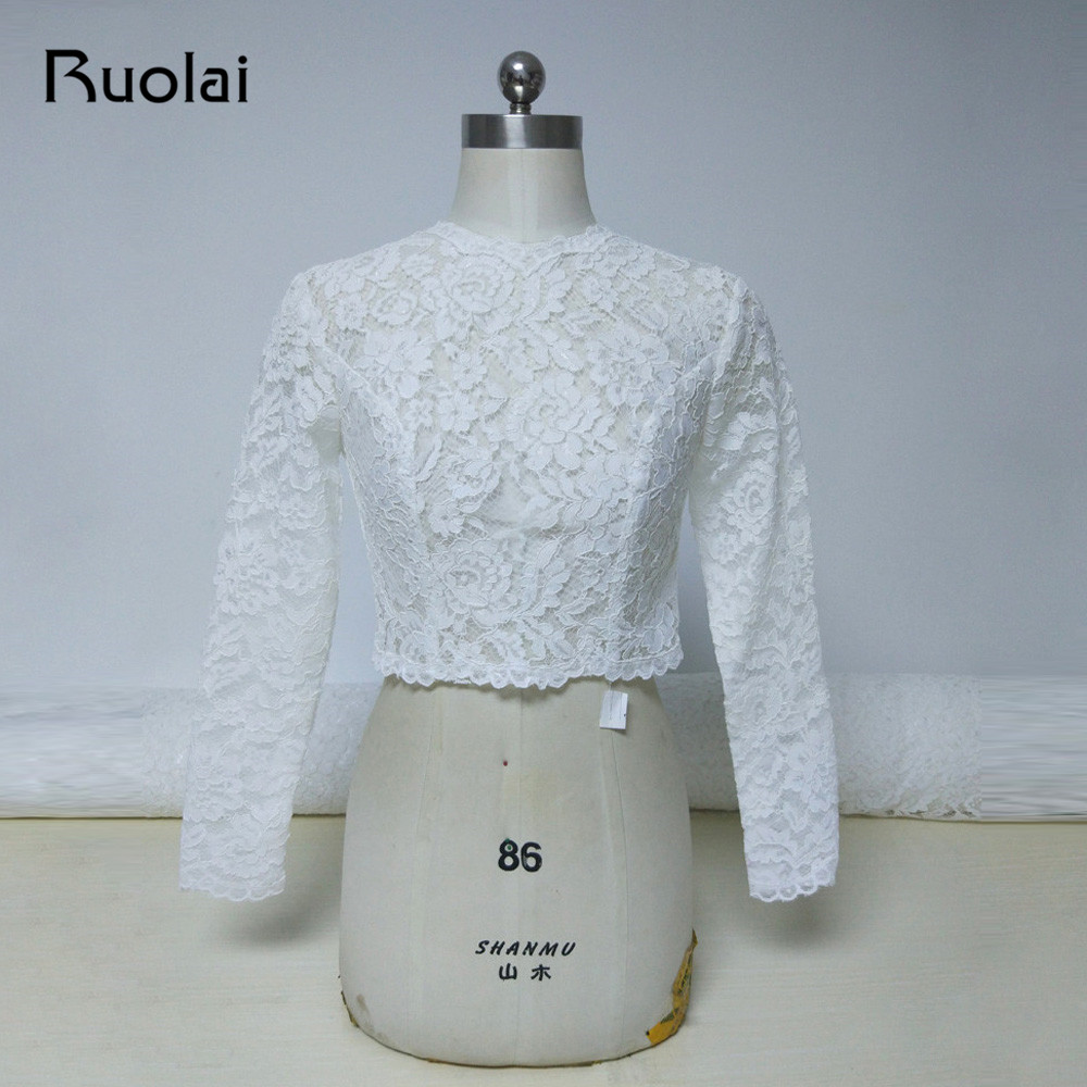 2019 High Neck Ivory Long Sleeves Wedding Jacket Lace Bolero Jacket Bridal Coat Button Back Wedding Accessories Women Cloth FJ24