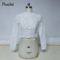 2019 High Neck Ivory Long Sleeves Wedding Jacket Lace Bolero Jacket Bridal Coat Button Back Wedding Accessories Women Cloth FJ24