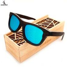 Bobobird männer Retro Holz Bambus Sonnenbrille Platz Piltor Sommer Stil Luxulry Marke Design Polaroid Sonnenbrille in Geschenkbox