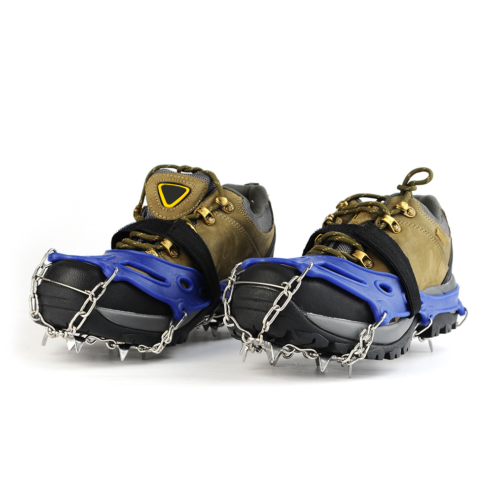 19 Teeth Stainless Steel Crampons Nylon Strap Non-slip Shoes Cover Outdoor Ski Ice Snow Device Winter Hiking Crampons