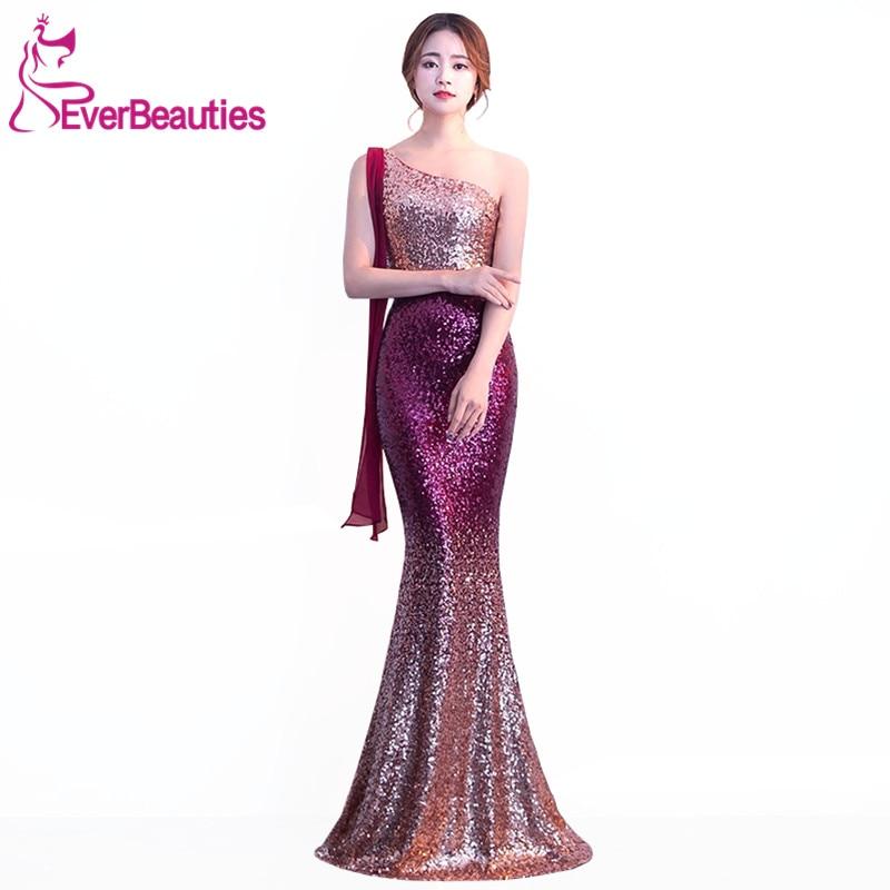 Robe De soirée 2019 sirène robes De soirée une épaule paillettes longues robes De soirée Elie Saab robes Abiye Gece Elbisesi