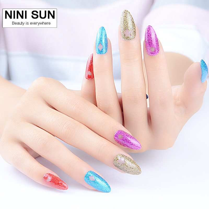 2016 Palette Fake Nails With Glitter Designs French Stiletto Nail Tips Unghie Finte Tips Nail Vibrating
