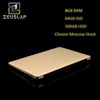 ZEUSLAP A8 Ultrathin Quad Core Fast Running 1920X1080P FHD 8G RAM 64G SSD 500G HDD Windows