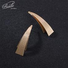 Badu Geometric Stud Earring Hammered Gold Silver Triangle Metal Earrings for Women Halloween Jewelry Gift Girls Wholesale