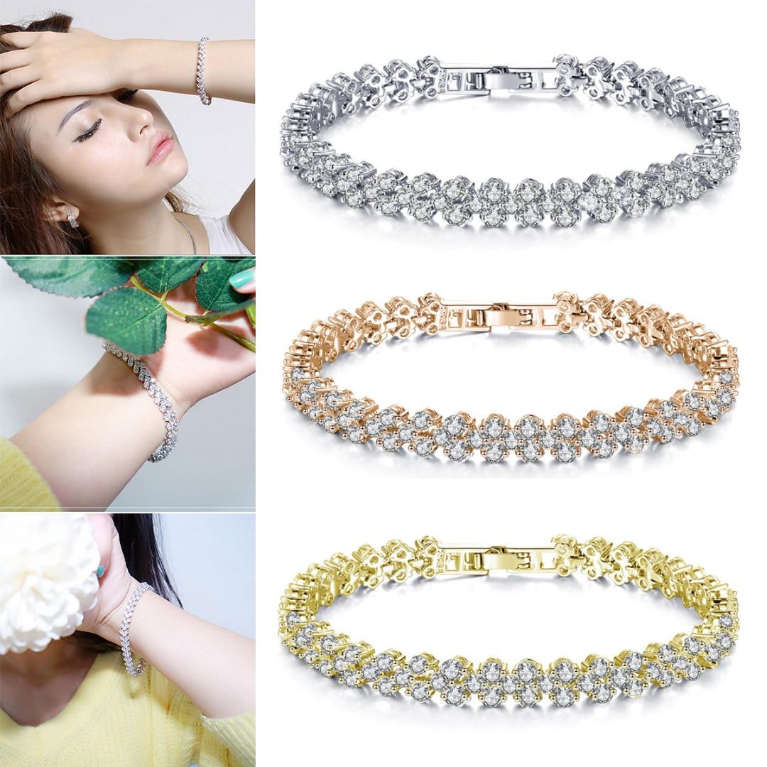 Women's Luxury Sparkling Zircon Rhinestone Crystal Bracelet Bangle Jewelry
