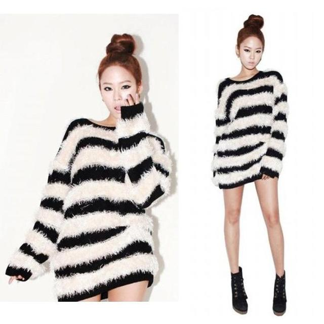 Womens Fashion Black White Striped Pullover Warm Sweater Women