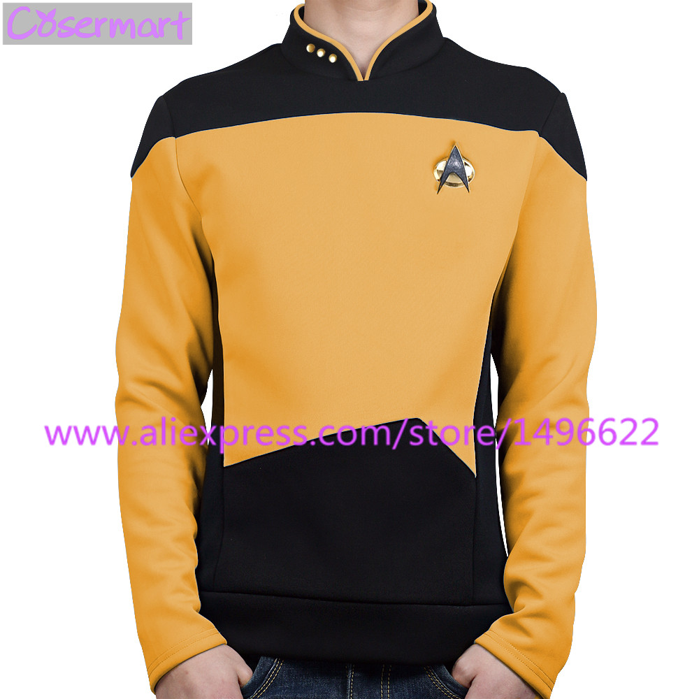 Star Trek Cosplay Costume The Next Generation Yellow Shirt Uniform Tee For Men Coat Halloween Party Prop