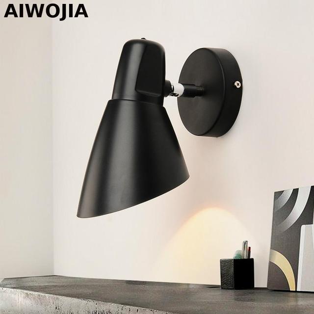 Zwart Houten Nachtkastje.Moderne Wandlamp Swing Hoofd Wandlamp Creatieve Wandlamp Houten