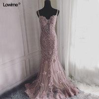 Sexy Arabic Long Pink Lace Beaded Mermaid Formal Evening Prom Party Dress Abiye Turkish Evening Gowns Dresses Abendkleider 2018