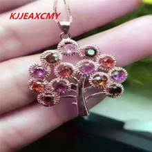 цена KJJEAXCMY Boutique jewelry Natural Tourmaline Pendant, candy color inlay, S925 silver plated rose, gold and silver ornaments, fe онлайн в 2017 году