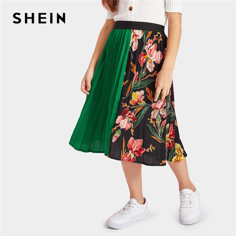 SHEIN Kiddie Girls Cut-And-Sew Botanical Print Pleated Casual Skirt Kids Clothing 2019 Spring Korean Floral Elegant Long Skirt