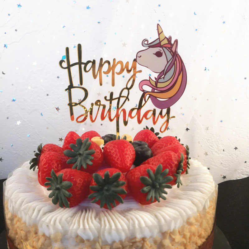 Золотой Единорог акриловый торт Топпер Фламинго пирожное для дня рождения Топпер детская игрушка в ванную Русалка Единорог украшения для торта для вечеринки
