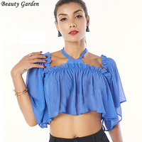 Beauty Garden 2017 Women Sexy Fashion Halter Chiffon Sweet Cute Style Tops Off Shoulder Ruffles Ruched