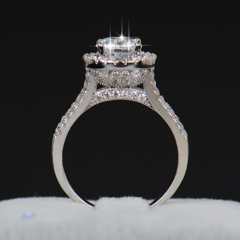 Hot sale Da Moda Luxo Mulheres Engagement Jóias 925 sterling silver 5A ZC Zircon Cristal Flor Dedo Anéis de Casamento Do Sexo Feminino