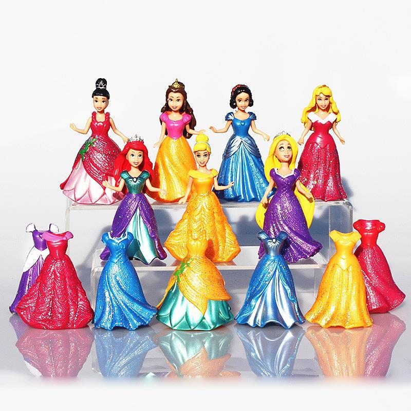 7pcs/set Snow White Princess Action Figure Ariel Rapunzel Merida Cinderella Aurora Belle Princess Sexy Toys Girls Doll Dress elsa anna doll clothes dress for 16inch 40cm sharon prince doll dress for cinderella princess belle rapunzel snow white