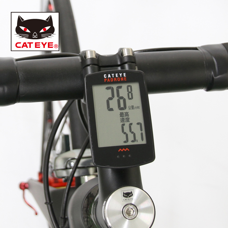 CATEYE Cycling Bike PADRONE Digital Wireless Computer Speedometer Stopwatch CC PA100W With 7 Functions Largest Display