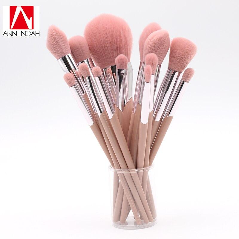 Personnaliser Mignon Beauté Poignée En Plastique Synthétique Cheveux 14 pcs Maquillage Brosse Ensemble