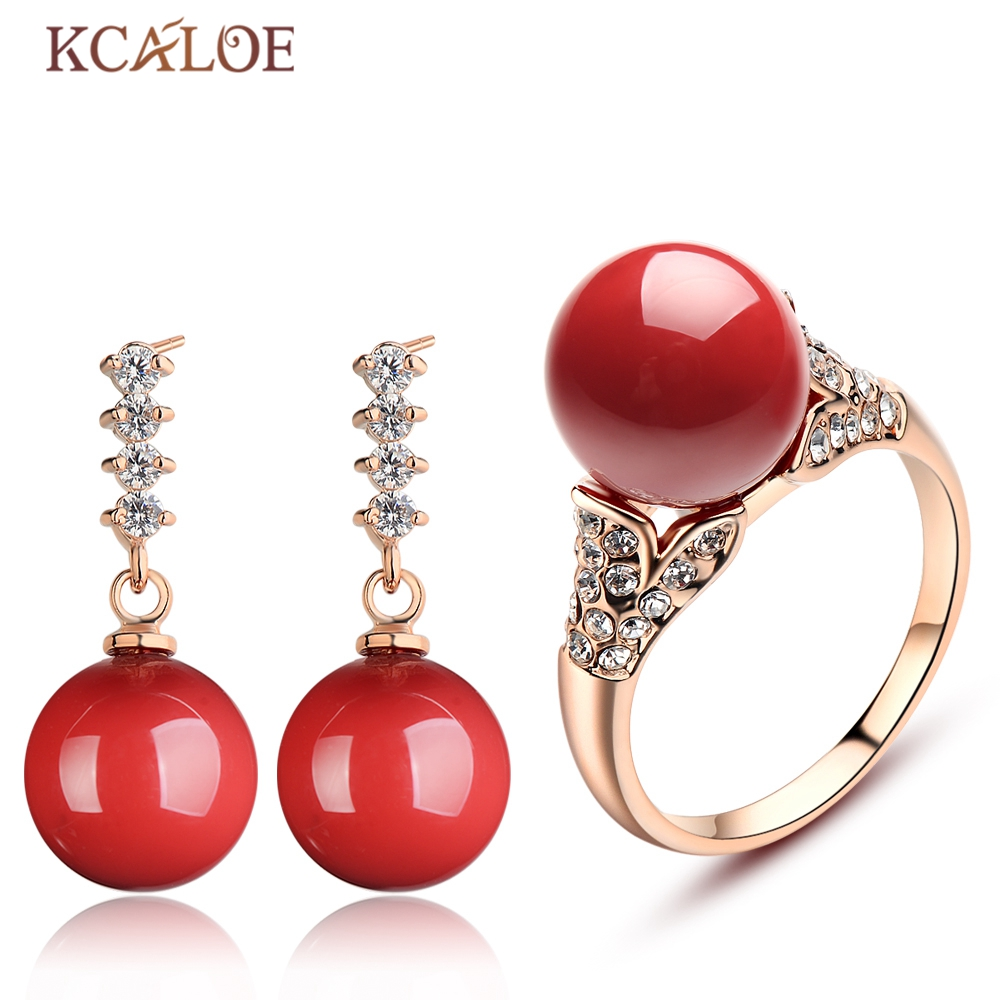 Bridal classics necklace sets mj 259 - Kcaloe Jewelry Set Rose Gold Color Crystal Rhinestone Wedding Red Artificial Coral Earrings Ring Jewellery Sets
