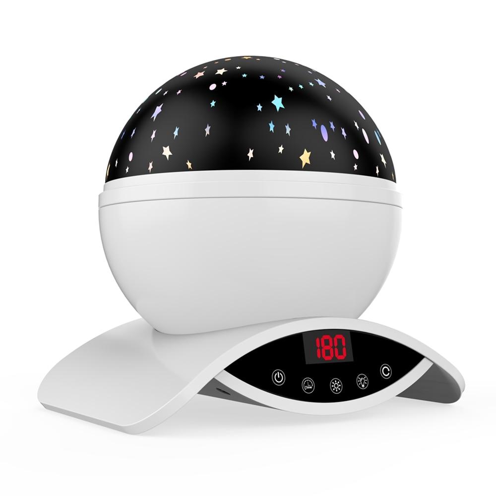 Elecstars LED светодио дный ночник детский вращающихся Star Сенсорный проектор освещения Луна Небо Рождество Дети светильник для малышей подарки для женщин настольная лампа USB датчик движения - Испускаемый цвет: white