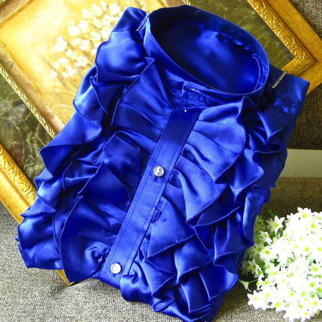 Men 's shirt lotus leaf lace male photographer take pictures of yellow blue purple powder white deep blue