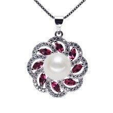 SNH AAA кнопку 9 мм серебро 925 geunine пресной воды перл подвеска для женщин ювелирные изделия перлы ожерелье(China (Mainland))