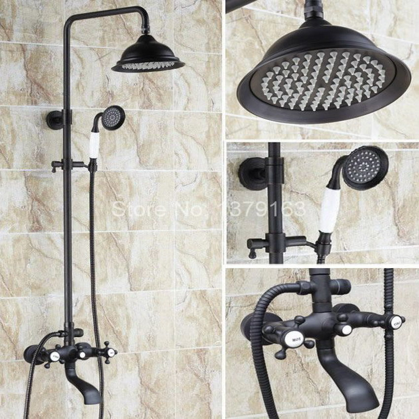 Oil Rubbed Bronze Wall Mounted Bathroom 8.2 Round Rain & Hand Shower & Tub Faucet Set Dual Cross Hot/Cold Handle ahg104